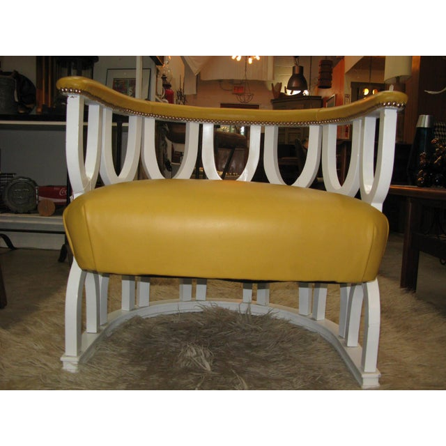 Fabulous Repurposed Vintage Leather Barrel Chair - Image 2 of 8