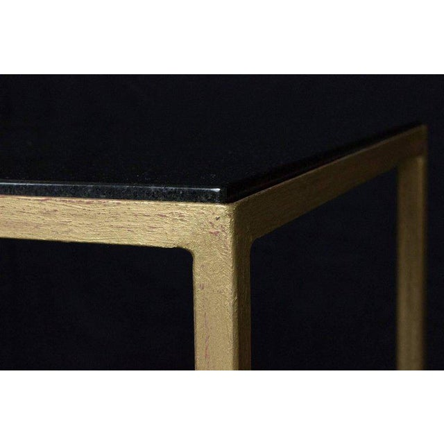 Gold Marcelo Iron End Table With Polished Granite Surface For Sale - Image 7 of 11