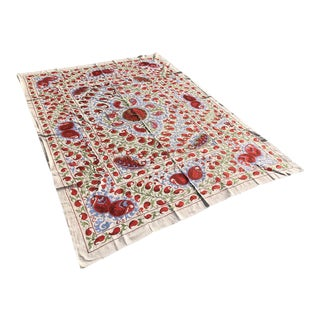 """Handmade Suzani Floral Fabric Bedding / Table Cloth - 8'4"""" X 6'2"""" For Sale"""