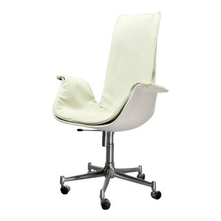 Mid-Century Modern Design White Leather High Back 'Bird' Desk Chair by Preben Fabricius for Alfred Kill International, 1960s For Sale