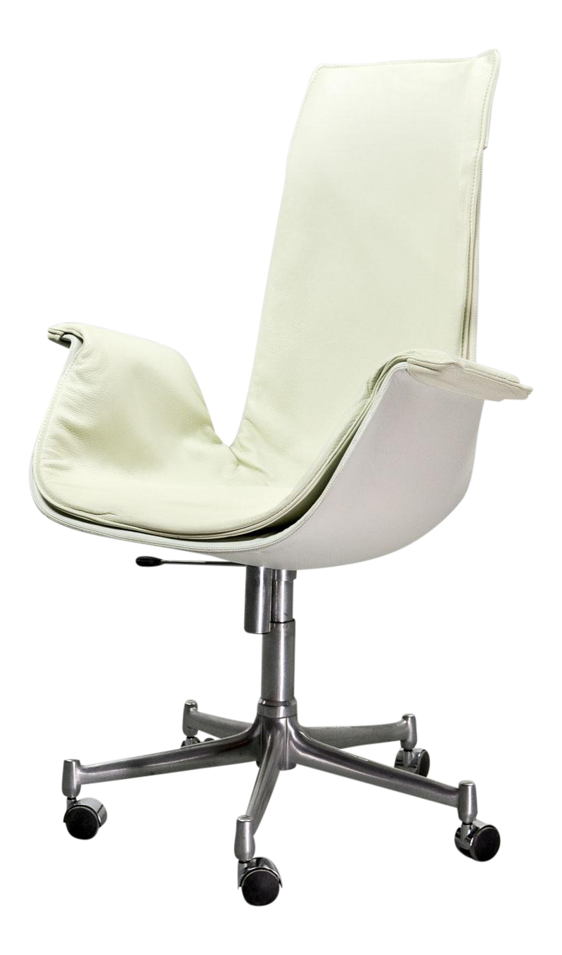 Mid Century Modern Design White Leather High Back U0027Birdu0027 Desk Chair By  Preben