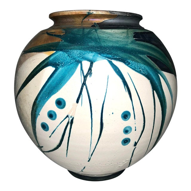 Raku Pottery Vessel, Signed For Sale