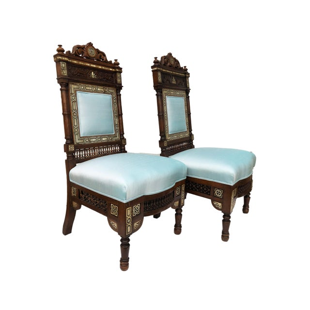 Museum Pieces 19th C Moorish Pair of Chairs For Sale - Image 9 of 12