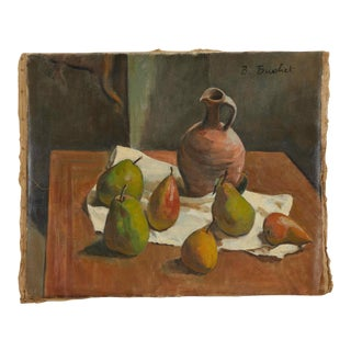 Early 20th Century Still Life Oil Painting on Canvas by Artist B. Buchet For Sale