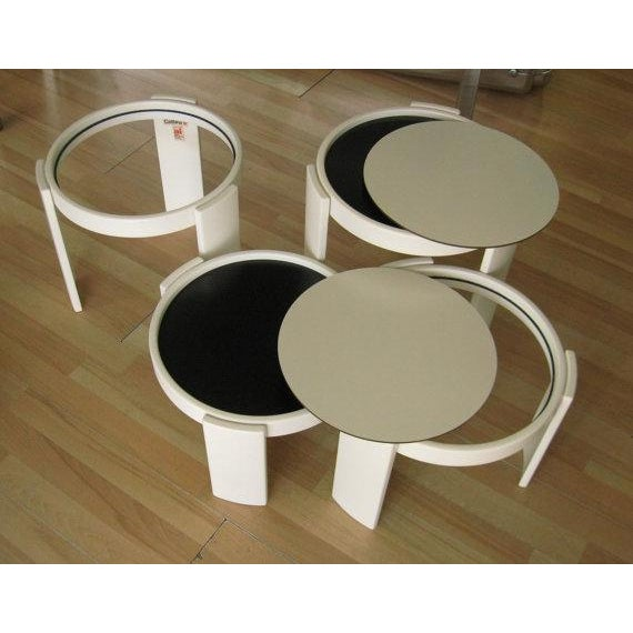 Gianfranco Frattini Cassina Stacking White Nesting Tables - Set of 4 For Sale - Image 4 of 7