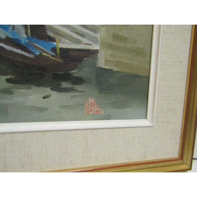 Boats on a Canal Oil Painting by Wang Ren Ji - Image 4 of 5