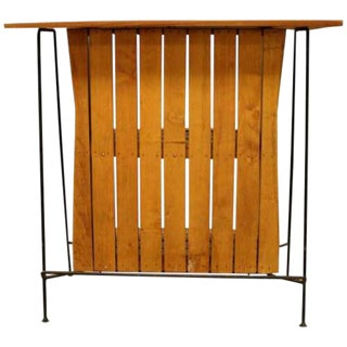 Mid Century Modern Arthur Umanoff for Raymor Iron & Wood Slat Standing Bar 1950s For Sale