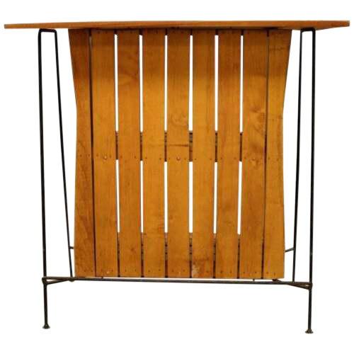 Mid Century Modern Arthur Umanoff for Raymor Iron & Wood Slat Standing Bar 1950s For Sale