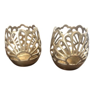 Vintage Brass Votive Candle Holdres - a Pair For Sale