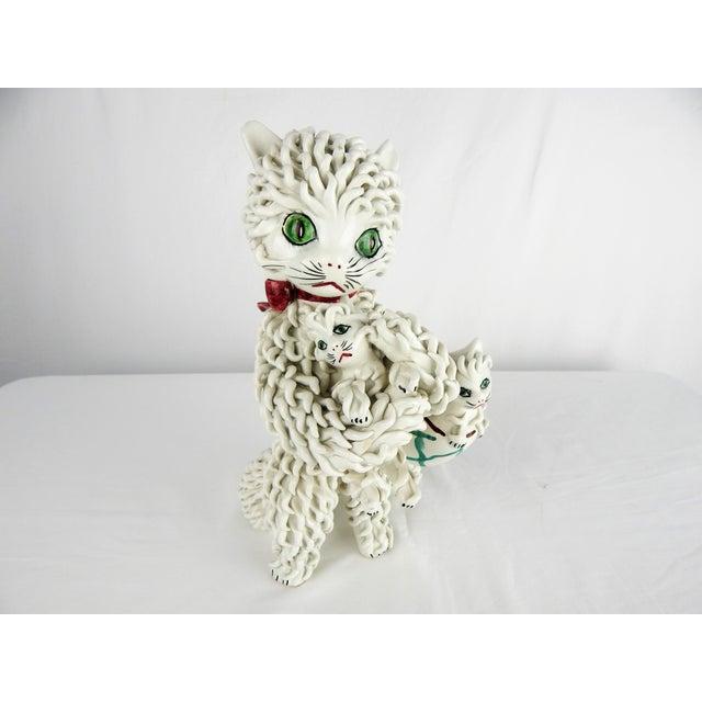 Figurative 1950s Italian Spaghetti Cat & Kittens Figure For Sale - Image 3 of 12