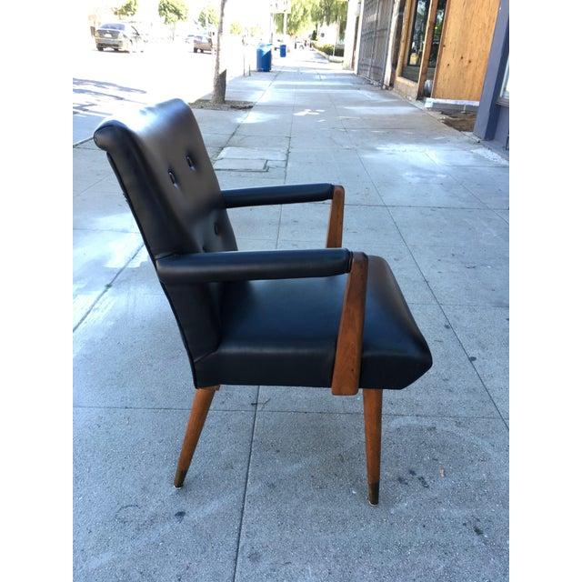 Mid-Century Black Vinyl & Walnut Arm Chair For Sale - Image 4 of 9