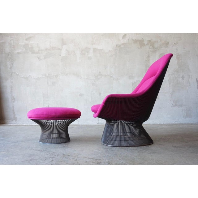 Early edition Warren Platner lounge chair and ottoman for Knoll. Original Bronze-plated steel frame in excellent...