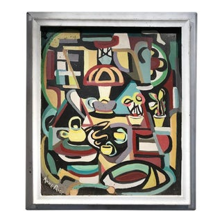 """Mid Century Abstract Painting """"Modern Kitchen"""" Still Life For Sale"""