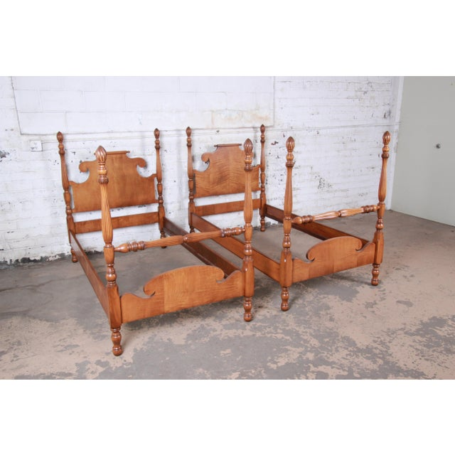 Vintage Tiger Maple Twin Pineapple Poster Beds-A Pair For Sale - Image 4 of 13