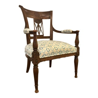 Timeless Antique Carved Wood Side Chair With Modern Upholstery For Sale