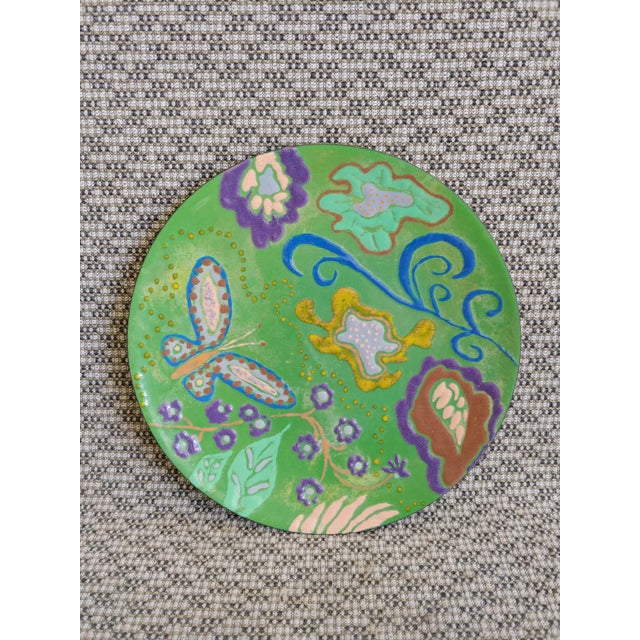 Metal Abstract Enamel on Copper Butterfly Dish For Sale - Image 7 of 7