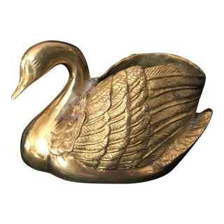 Mid-Century Solid Brass Swan Form Planter For Sale