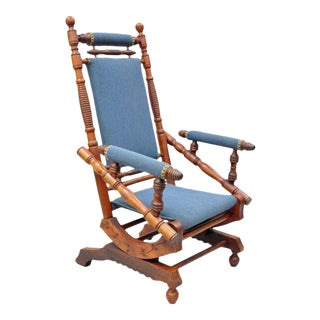 Antique Eastlake Victorian Turned Walnut Blue Platform Rocking Chair