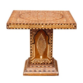 Petite Inlaid Pedestal Base Table For Sale