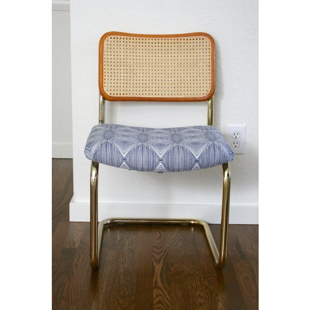 Brass Cantilever Cane and Blue Print Upholstered Chairs For Sale - Image 9 of 9