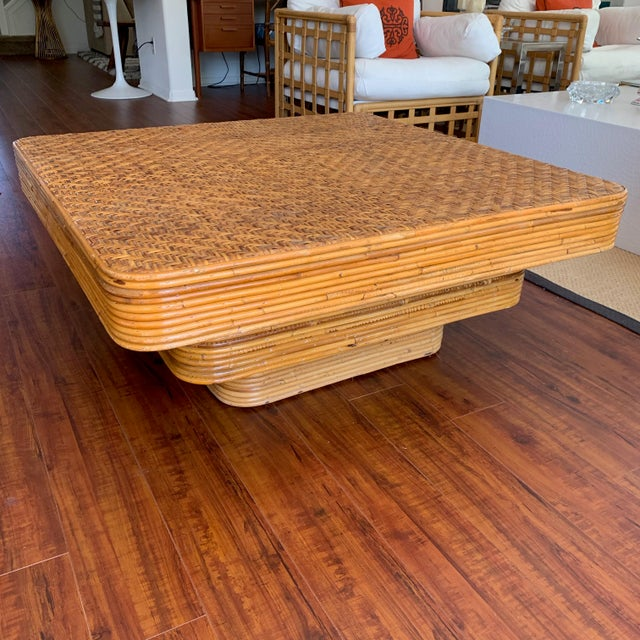 Unique square stacked pencil reed coffee table in very good vintage condition without any breaks. Great patina and well...