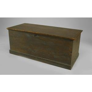Blue American Country (18/19th Cent) blue painted pine blanket chest/floor trunk For Sale - Image 8 of 8