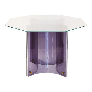 Modern Acai Purple Acrylic Based Table With Octagon Glass Top For Sale