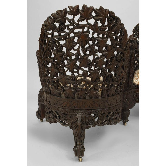 Asian Burmese Style Carved and Filigree Rosewood Tete a Tete For Sale - Image 4 of 8