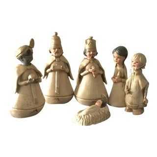 Vintage Wooden Hand Painted Nativity Set - Set of 6