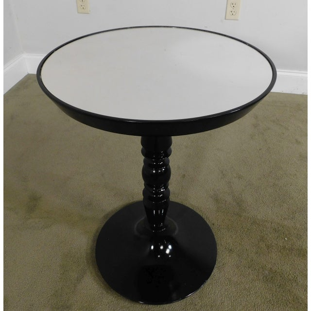 Modern Black Lacquer Round Mirror Top Pedestal Side Table For Sale - Image 4 of 13