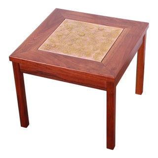 John Keal for Brown Saltman Walnut and Copper Tile Side Table, 1960s For Sale