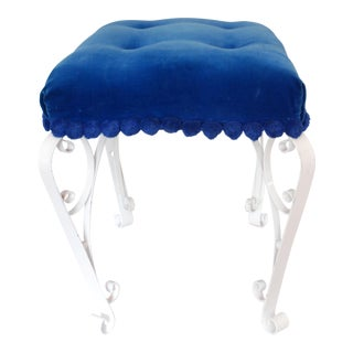 Mid-Century Blue Velvet & Wrought Iron Vanity Stool For Sale