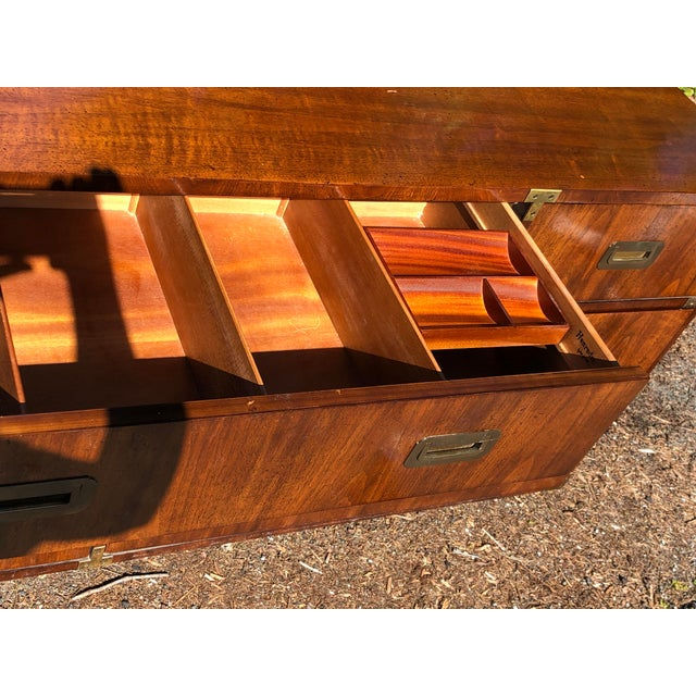 Mid 20th Century 20th Century Campaign Henredon Triple Dresser For Sale - Image 5 of 13