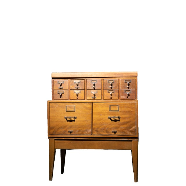 1950s Mid Century Standing Card Catalogue and File Cabinet For Sale - Image 4 of 8