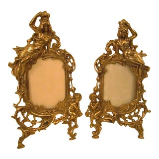 1950s Art Nouveau Ornate Metal Picture Frames - a Pair For Sale