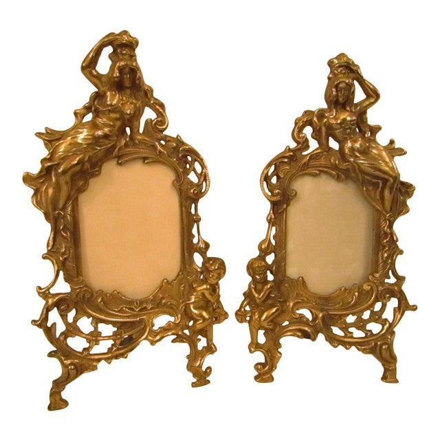 1950s Art Nouveau Ornate Metal Picture Frames - a Pair | Chairish