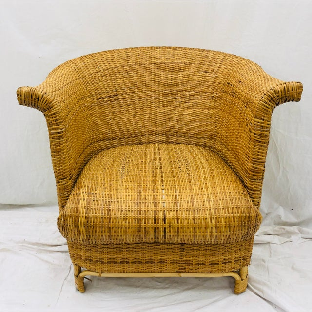 Vintage Palm Beach Chic Woven Wicker Arm Chair For Sale In Raleigh - Image 6 of 13