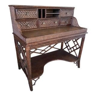 Lexington Fretwork Chippendale Rattan Wicker Desk For Sale