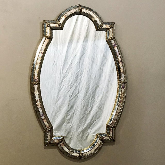 Mid-Century Venetian Style Mirror With Gilt Brass Accents For Sale - Image 12 of 12