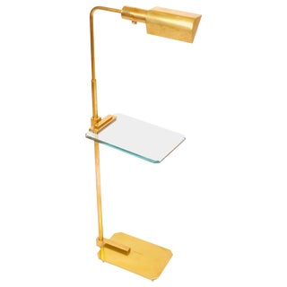 Brass and Cut Glass Floor Lamp by Casella For Sale