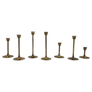 Mid Century Brass Candlesticks, S/7 For Sale