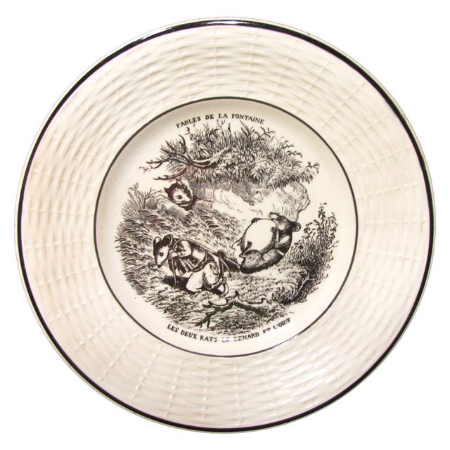 Sarraguemines Antique French Transferware Salad or Dessert Service - Set of 12 For Sale - Image 4 of 7