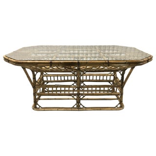 Mid 20th Century Brighton Bamboo Rattan Dining Table For Sale