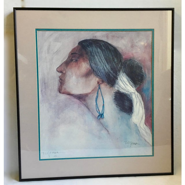 Vintage (1976) R.C. Gorman print of Navajo woman with turquoise earrings. Framed and matted. Lovely piece of art to add to...