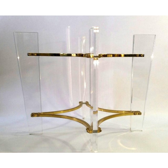 Vintage 1970's Lucite, Brass & Glass Coffee Table For Sale - Image 10 of 11