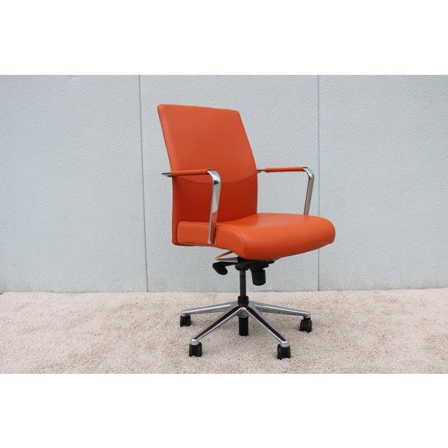 Mid Century Modern Keilhauer Vanilla Ergonomic Orange Leather Executive Desk Chair For