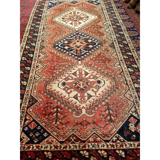 Red 1940s Vintage Persian Shiraz Tribal Carpet - 5′2″ × 10′1″ For Sale - Image 8 of 9