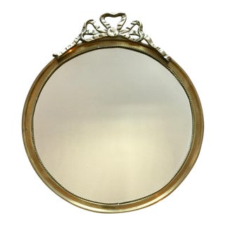 Antique Round Brass Mirror-Ribbon Design