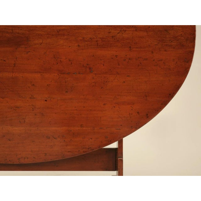 French Provincial French Cherry Tilt-Top Wine Table Reproduction For Sale - Image 3 of 9