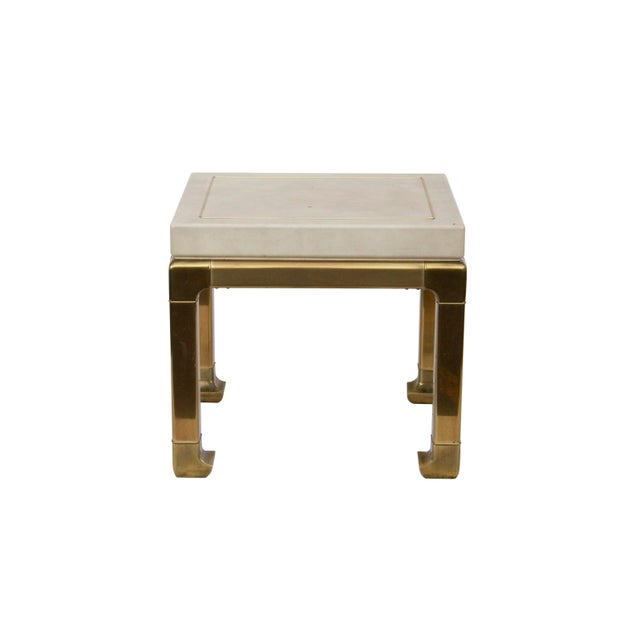 Ming Style Brass and Ivory end table by Mastercraft. This table is unbelievably heavy for its size. The base is in solid...